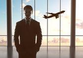 Man and airplane — Stock Photo