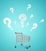 Shopping cart and question — Stock Photo