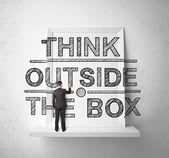 çizim adam kutunun dışında düşünmek — Stok fotoğraf