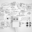 Usb conect with business strategy — Stock Photo
