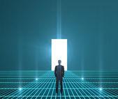 Biznesmen w świecie interfejs — Zdjęcie stockowe