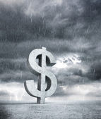 Dollar in rainy weather — Stock Photo