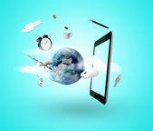 Earth and tablet — Stock Photo