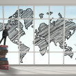 Stock Photo: Mdrawing world map