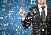 Sman drawing business plan — Stock Photo