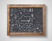 Blackboard with business concept — Stock Photo