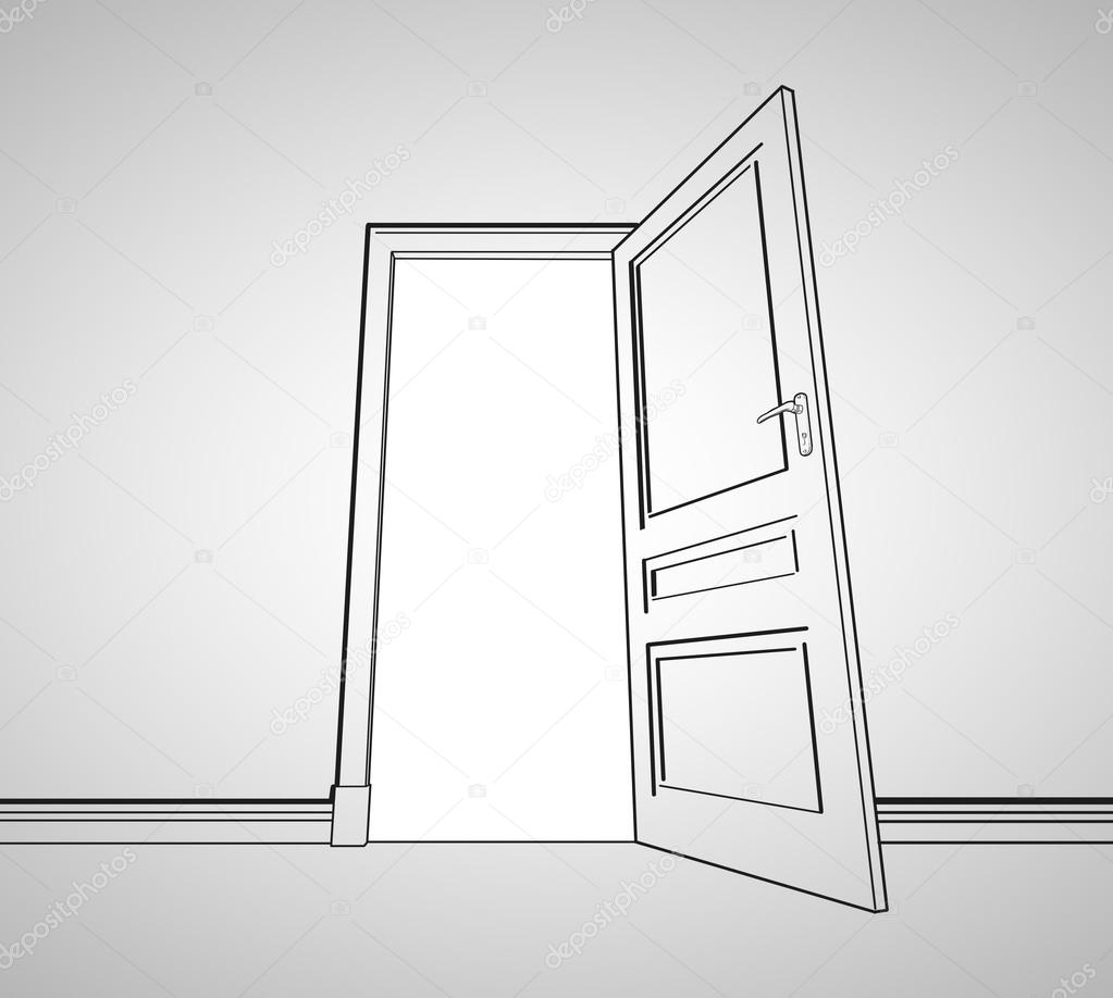 Door Opening Drawing Drawing Gray Room With Opened