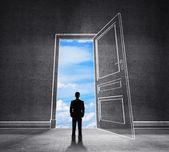 Drawing door to blue sky — Stock Photo
