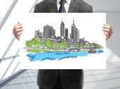 Poster with city — Stock Photo