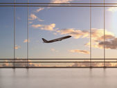 Airport with window — Stock Photo