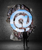 Wall in the form of a email — Stockfoto