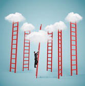 Businessman climbing to cloud — Stockfoto