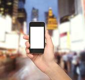 Teléfono de explotación de la mano — Foto de Stock