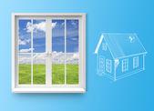 Window with lake view — Stock Photo