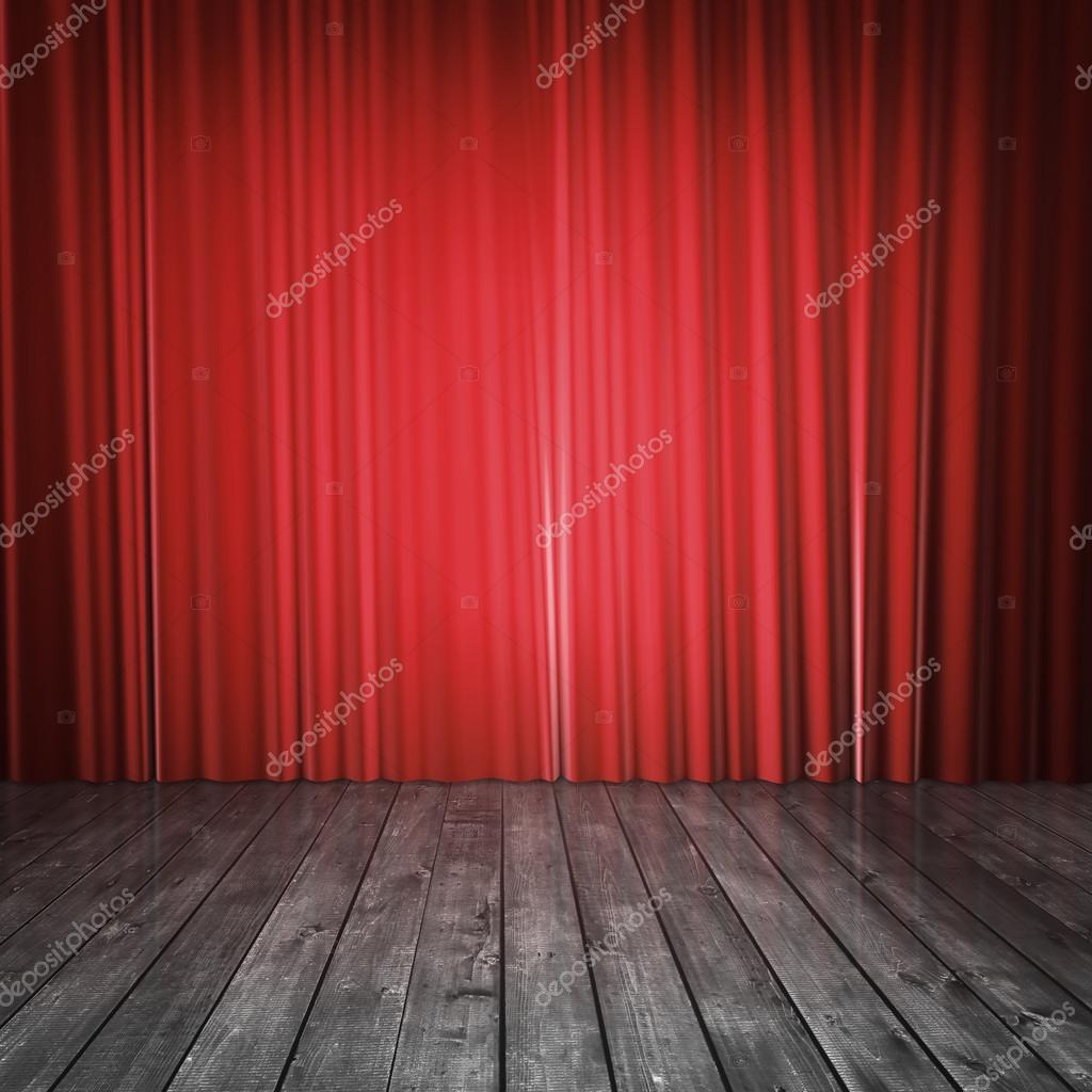 红色的窗帘和混凝土地板– 图库图片