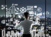 Businessman pushing interface — Stock Photo