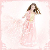 Young girl dressed as a princess with magic wand — Stock Photo