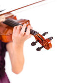 Young girl practicing the violin. Over white background — Stock Photo