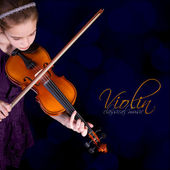 Young girl practicing the violin. — Stock Photo