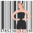 Beautiful blonde girl and bar code — Stock Photo