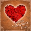 Happy Valentine's Day & Red roses — Stockfoto