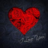Corazón de rosas rojas — Foto de Stock