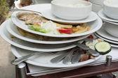 Mountain of dirty utensils — Stock Photo