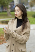 Young woman looking at mobile phone — Stockfoto