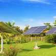 Solar batteries in the garden - Stock Photo