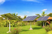 Solar batteries in the garden — Stock Photo