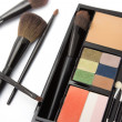 Professional makeup palette and brushes — Stock Photo