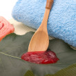 Stock Photo: Natural strawberry scrub and natural soap