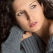 Beautiful  brunette with curly hair — Stock Photo
