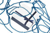 Blue gift box with bow — Stock Photo