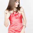 Stock Photo: Beautiful womin red dress