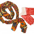 Stock Photo: Bright patterned scarf and orange gloves