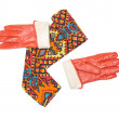 Stock Photo: Convolute bright patterned scarf and orange gloves
