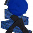 Stock Photo: Dark blue scarf, beret and black woolen gloves