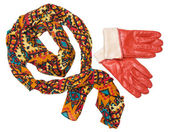 Bright patterned scarf and orange gloves — Stock Photo