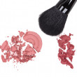 Compact and cream blush with makeup brush — Stock Photo