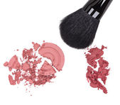 Compact and cream blush with makeup brush — Stockfoto