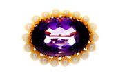 Victorian sapphire and pearl broach. — Stock Photo