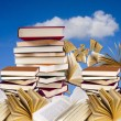 Books stacked outdoors — Stock Photo