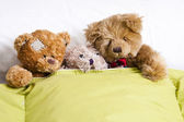 Teddy bear on the bed in the room — Stock Photo