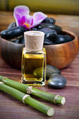 Bottle of olive oil naturally aromatic spa — Stock Photo