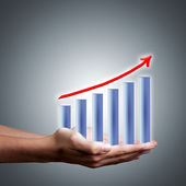 Bars hands with financial results and earnings success — Stock Photo