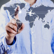 Businessman with world map, business — Stock Photo