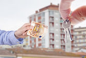 Euro banknote hand and hand with house keys, concept of buying house — Stock Photo