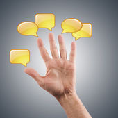 Man's hand with dialogue, chatting and social networking — Stock Photo