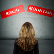 Sign girl back with the holidays and destinations — Stockfoto